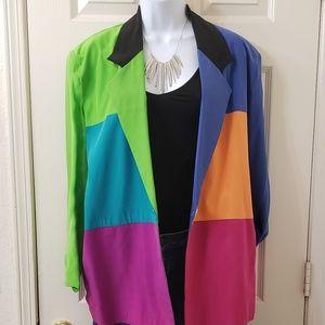 Vintage 80's/90's Color Block Silk Blazer!